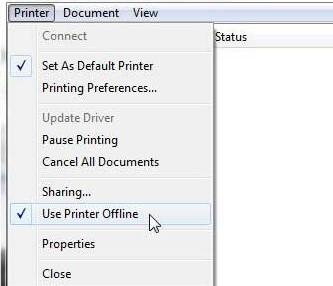 Deactivate the Use Printer Offline feature